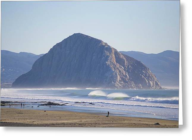 Charles Pyrography Greeting Cards - Morro Rock Greeting Card by Charles Burggraf