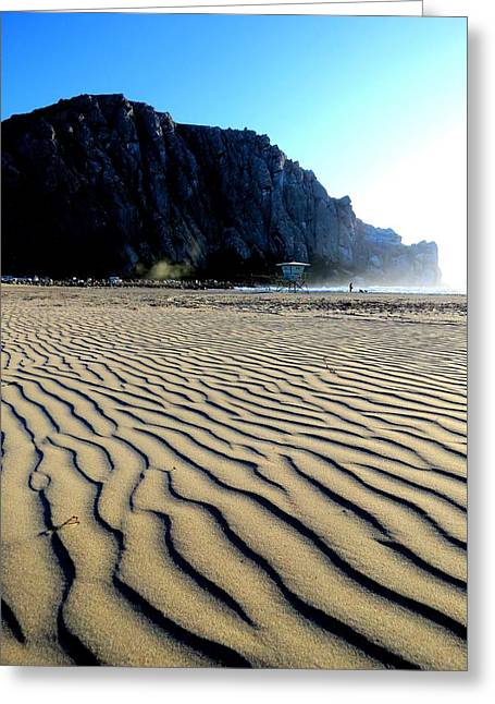 Sand Pattern Greeting Cards - Morro Rock Greeting Card by Connor Beekman