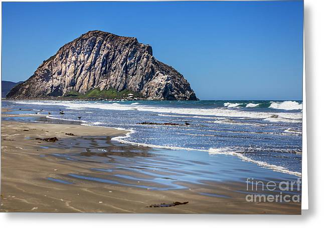 California Beaches Greeting Cards - Morro Rock Greeting Card by David Millenheft