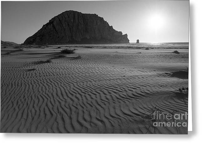 Terry Garvin Greeting Cards - Morro Rock Silhouette Greeting Card by Terry Garvin