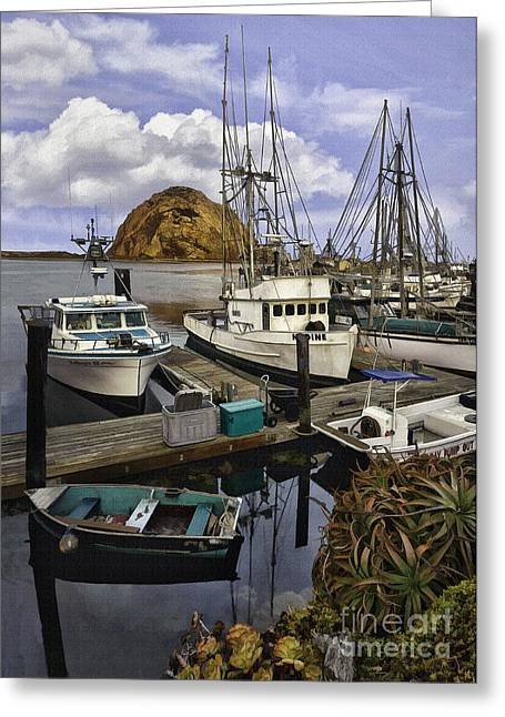 Morro Bay Harbor Greeting Cards - Morro Sunrise Greeting Card by Sharon Foster