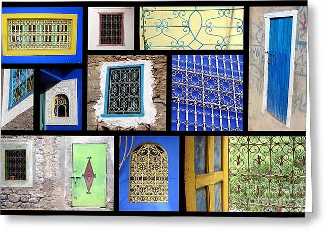 Moroccan Windows Greeting Card by Delphimages Photo Creations