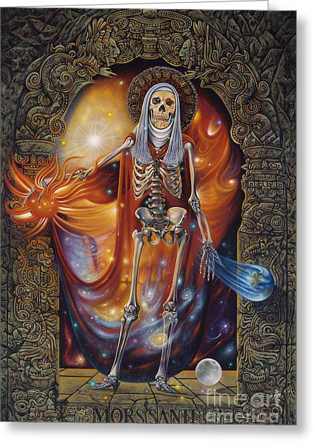 Grim Reaper Greeting Cards - Mors Santi Greeting Card by Ricardo Chavez-Mendez