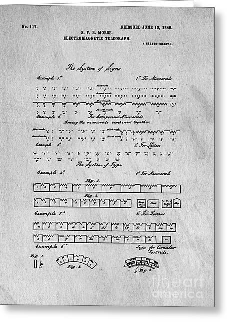 Sketch Book Greeting Cards - Morse Code Original Patent Greeting Card by Edward Fielding