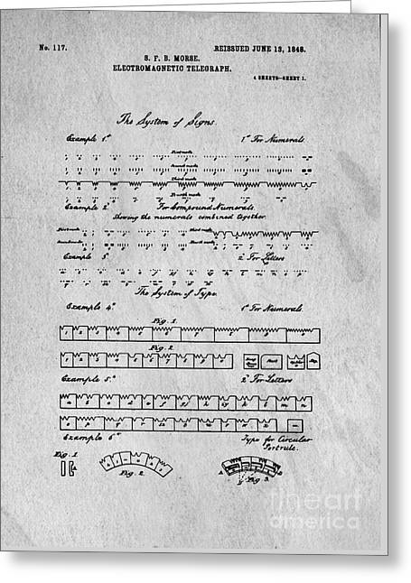File Greeting Cards - Morse Code Original Patent Greeting Card by Edward Fielding
