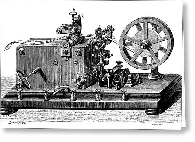 Morse Telegraph Receiver Greeting Card by Science Photo Library