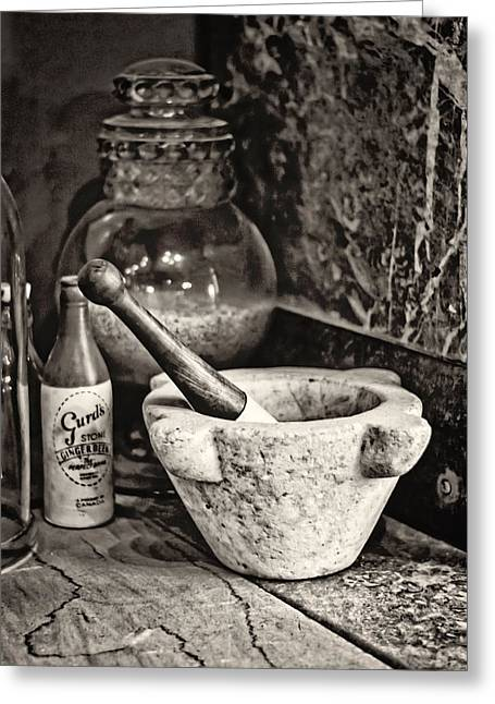 History Of Medicine Greeting Cards - Mortar and Pestle Greeting Card by Heather Applegate
