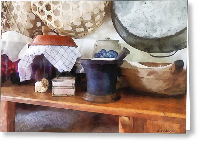 Baskets Greeting Cards - Mortar and Pestle in Kitchen Greeting Card by Susan Savad