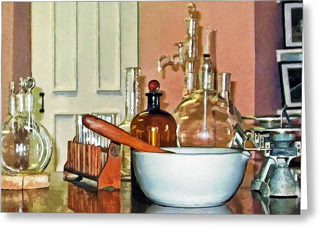 Perfumer Greeting Cards - Mortar and Pestle in Perfume Shop Greeting Card by Susan Savad