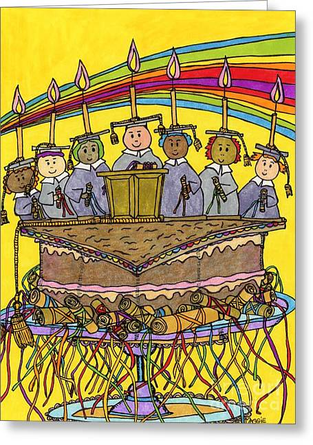 Culinary Drawings Greeting Cards - Mortarboard Graduation Cake Greeting Card by Mag Pringle Gire