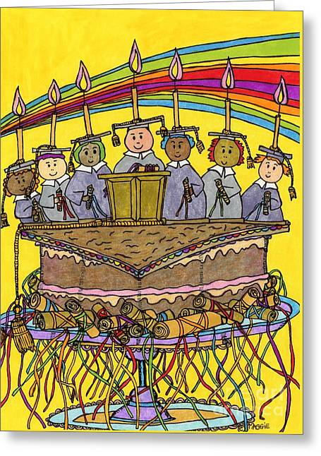 Culinary s Drawings Greeting Cards - Mortarboard Graduation Cake Greeting Card by Mag Pringle Gire
