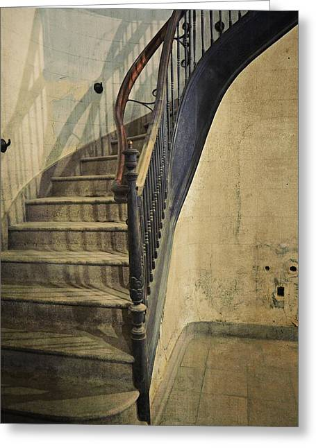 Wooden Stairs Greeting Cards - Morton Hotel Stairway Greeting Card by Michelle Calkins