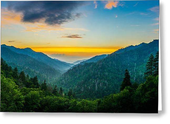 Gatlinburg Tennessee Greeting Cards - Mortons overlook panoramic Greeting Card by Anthony Heflin