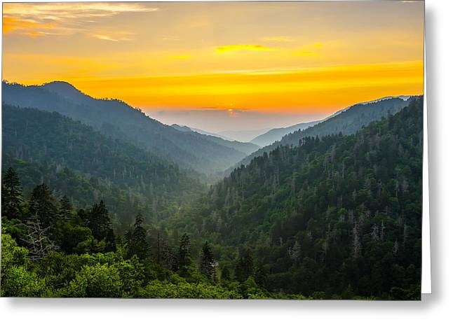 Gatlinburg Tennessee Greeting Cards - Mortons overlook sunset Greeting Card by Anthony Heflin