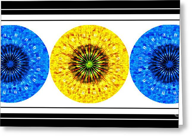 Stained Glass 3 Greeting Cards - Mosaic Blue Circles with Yellow Greeting Card by Barbara Griffin