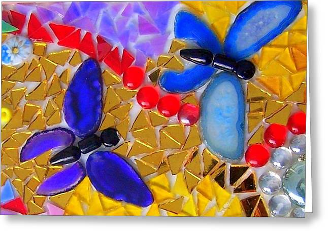 Glass Beads Glass Art Greeting Cards - Mosaic Butterflies  Greeting Card by Kathleen Luther