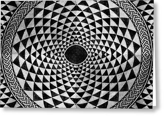 Circles Squares Triangle Textured Greeting Cards - Mosaic Circle Symmetric Black and White Greeting Card by Tony Rubino