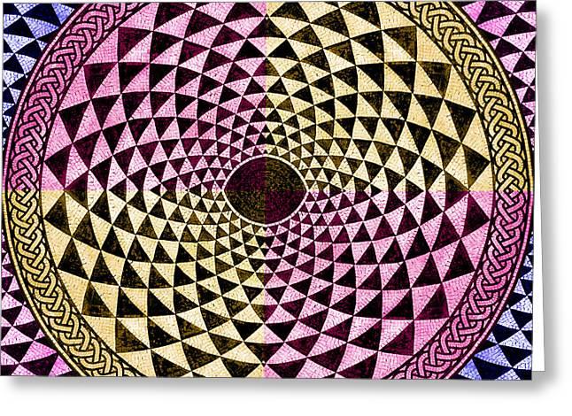 Circles Squares Triangle Textured Greeting Cards - Mosaic Circle Symmetric  Greeting Card by Tony Rubino