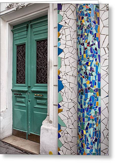 France Doors Greeting Cards - Mosaic Door in Montmartre Greeting Card by Nomad Art And  Design