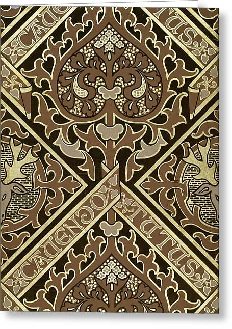 Decorative Greeting Cards - Mosaic Ecclesiastical Wallpaper Design Greeting Card by Augustus Welby Pugin