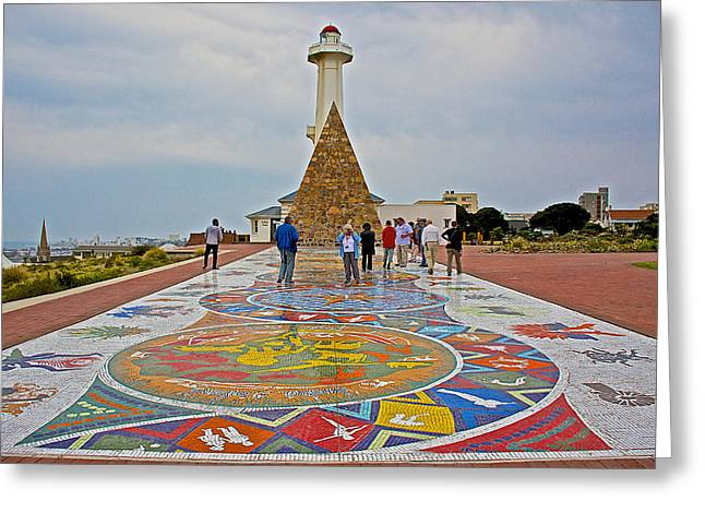 Port Elizabeth Greeting Cards - Mosaic Extending From Hill Lighthouse and Memorial in Donkin Reserve in Port Elizabeth-South Africa Greeting Card by Ruth Hager