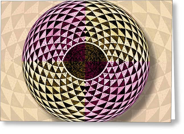 Curve Ball Greeting Cards - Mosaic Eye Orb Greeting Card by Tony Rubino