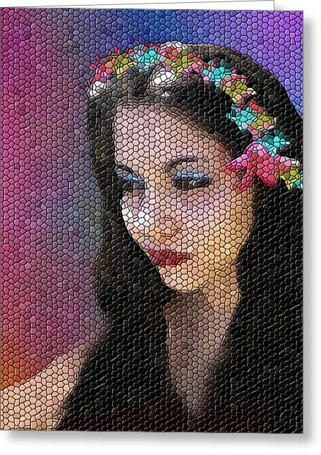 Pixy Greeting Cards - Mosaic Fairy Greeting Card by Lee Farley