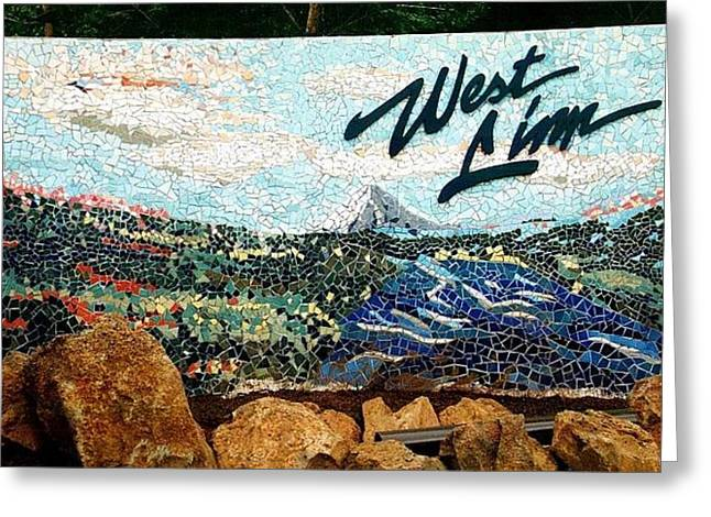Mountains Ceramics Greeting Cards - Mosaic for the City of West Linn Oregon Greeting Card by Charles Lucas