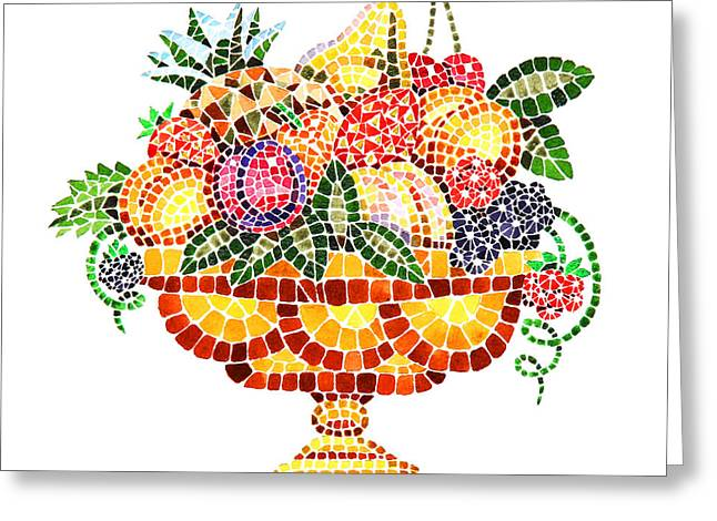 Apricots Paintings Greeting Cards - Mosaic Fruit Vase Greeting Card by Irina Sztukowski