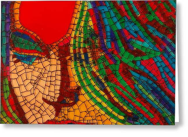 Lady Glass Art Greeting Cards - Mosaic Girl Sindoor Greeting Card by Jasmine Bharathan