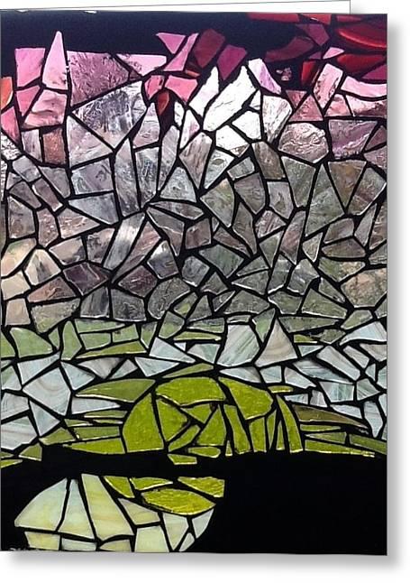 Sunset Glass Art Greeting Cards - Mosaic glass-sunset Greeting Card by Liesbeth Craig