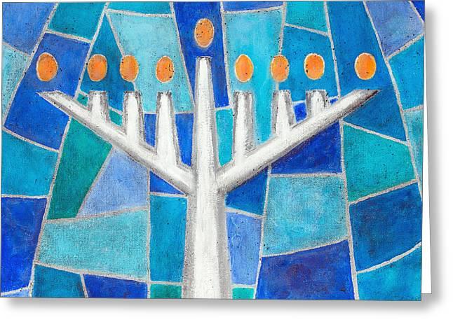 Messianic Greeting Cards - Mosaic Hanukkiah Menorah Greeting Card by Cheryl Hymes