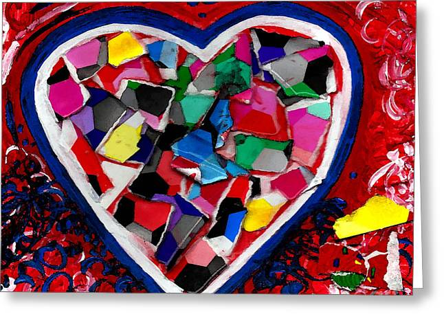 Fine Mixed Media Greeting Cards - Mosaic Heart Greeting Card by Genevieve Esson