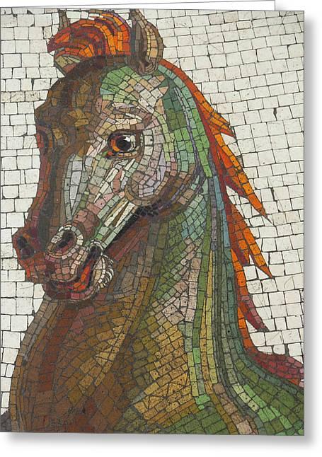 Sea Horse Greeting Cards - Mosaic Horse Greeting Card by Marcia Socolik