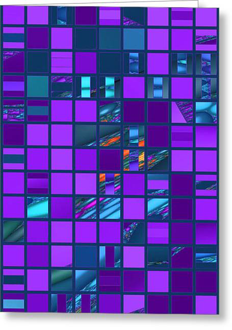 Algorithmic Abstract Greeting Cards - Mosaic in Teal and Purple Greeting Card by Judi Suni Hall