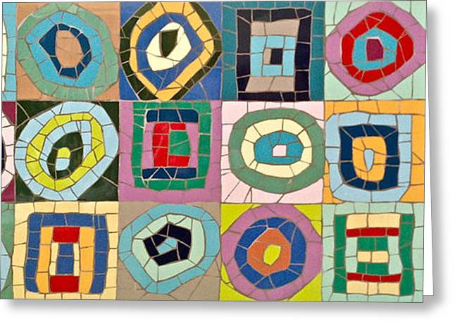 Abstract Ceramics Greeting Cards - Mosaic Kandinsky abstract art Greeting Card by Felicity Ball