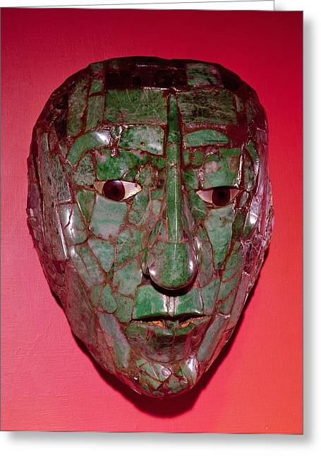 Mesoamerican Greeting Cards - Mosaic Mask, From Palenque, Chiapas Jade Greeting Card by Mayan
