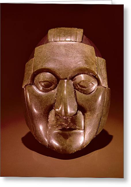 Mesoamerican Greeting Cards - Mosaic Mask Representing An Old Man, From The Ruz Tomb Under The Temple Of The Inscriptions Greeting Card by Mayan