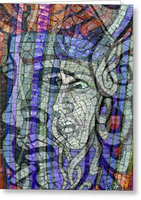Medusa Mixed Media Greeting Cards - Mosaic Medusa Greeting Card by Tony Rubino