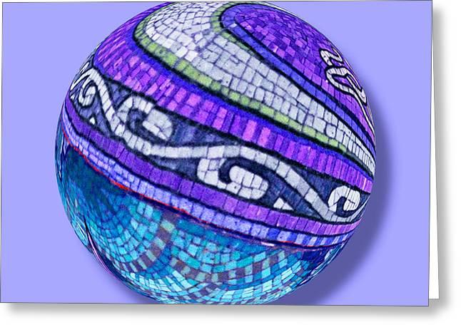 Warp Mixed Media Greeting Cards - Mosaic Orb 2 Greeting Card by Tony Rubino
