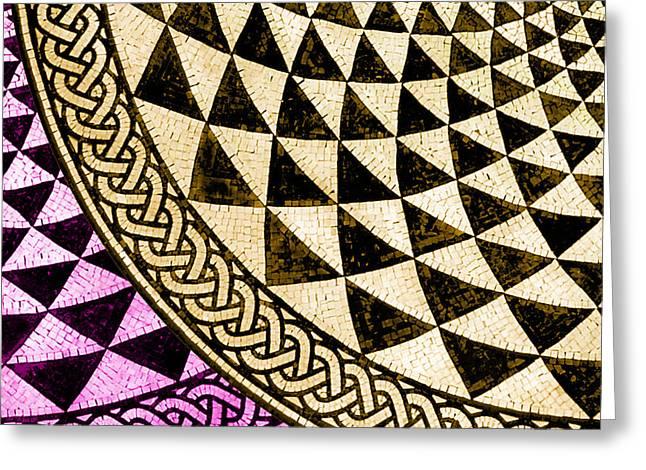 Circles Squares Triangle Textured Greeting Cards - Mosaic Quarter Circle Bottom Left  Greeting Card by Tony Rubino