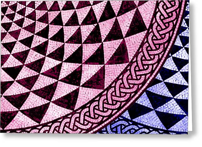 Circles Squares Triangle Textured Greeting Cards - Mosaic Quarter Circle Bottom Right  Greeting Card by Tony Rubino