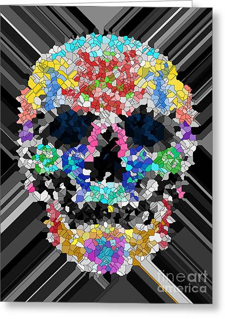 Scull Greeting Cards Greeting Cards - Mosaic Skull Greeting Card by Mauro Celotti