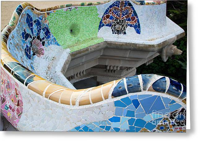 Guell Greeting Cards - Mosaic sculpture in the Park Guell Greeting Card by Michal Bednarek