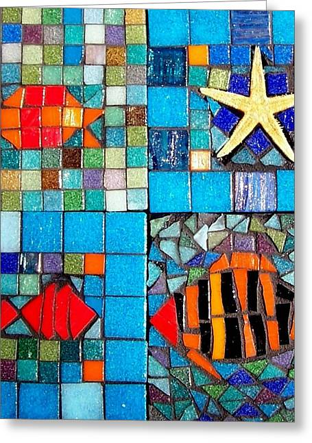 Stripes Glass Art Greeting Cards - Mosaic Sea Life Greeting Card by Kathleen Luther