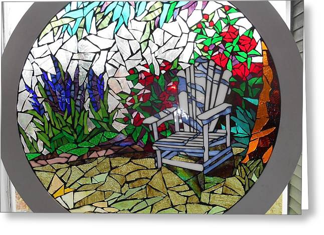 Chairs Glass Art Greeting Cards - Mosaic Stained Glass - A Place To Reflect Greeting Card by Catherine Van Der Woerd