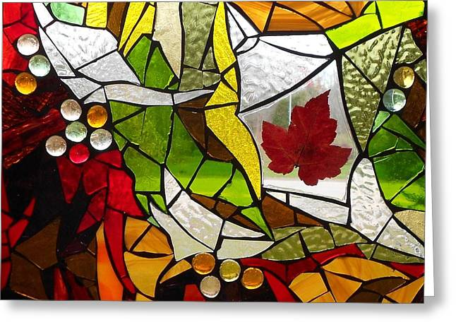 Green Leafs Glass Art Greeting Cards - Mosaic Stained Glass - Autumn  Greeting Card by Catherine Van Der Woerd