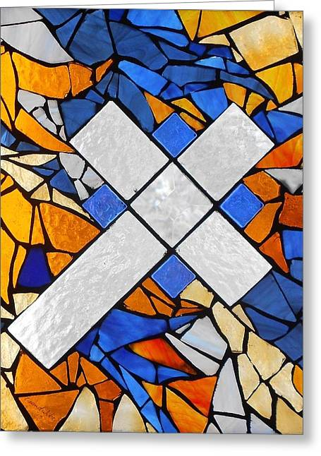 Crucifix Glass Art Greeting Cards - Mosaic Stained Glass - Blue and Gold Cross Greeting Card by Catherine Van Der Woerd