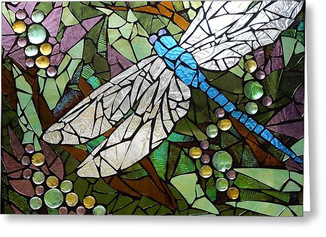 Green Leafs Glass Art Greeting Cards - Mosaic Stained Glass - Blue Dragonfly 50/50 Greeting Card by Catherine Van Der Woerd