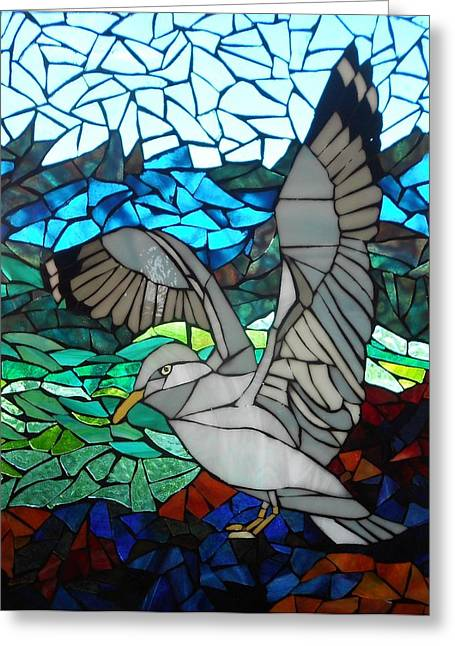 Sea Birds Glass Greeting Cards - Mosaic Stained Glass - Blue Rocks Greeting Card by Catherine Van Der Woerd